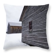 Musterfield Farm North Sutton Nh Old Buildings In The Snow Throw Pillow