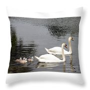 Mute Swan Family Day Two Throw Pillow
