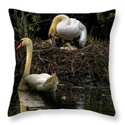 Mute Swan Family Throw Pillow