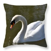 Mute Swan On Rolleston Pond Throw Pillow