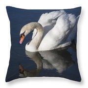 Mute Swan Reflected Throw Pillow