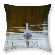 Mute Swan Swimming Away Throw Pillow