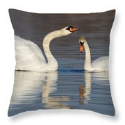 Mute Swans Drinking Throw Pillow