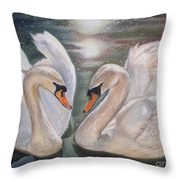 Mute Swans - River Severn Throw Pillow