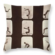 Muybridge Locomotion Back Hand Spring Throw Pillow by Photo Researchers
