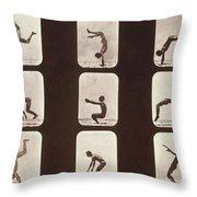 Muybridge Locomotion Back Hand Spring Throw Pillow