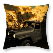 My 51 Willys Jeep Pickup Truck At Sunset Throw Pillow