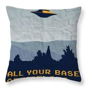 My All Your Base Are Belong To Us Meets X-files I Want To Believe Poster  Throw Pillow