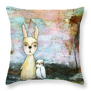 My Best Friend Baby Rabbit Baby Owl Abstract Art  Throw Pillow