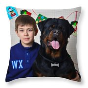 My Brother And The Dog Throw Pillow