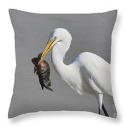 My Catch At The Beach Throw Pillow