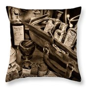 My Doctors Desk In Sepia Throw Pillow
