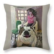 My Dog, My Friend Throw Pillow by Mimi Eskenazi