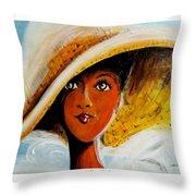 My Favorite Straw Hat II Throw Pillow