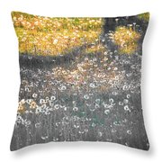 My First Manipulated Image Crowd Of Dandelions In Shadow Of Tree Branches Throw Pillow