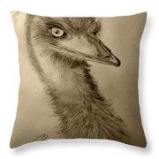 My Friend Emu Throw Pillow