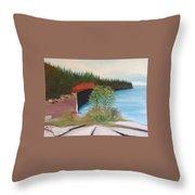 My Kayak Sitting On The Beach At Split Rock Throw Pillow
