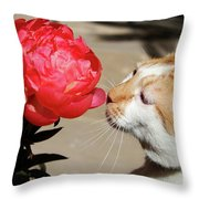 My Kitty In Love With A Peony Throw Pillow