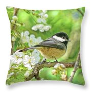 My Little Chickadee In The Cherry Tree Throw Pillow
