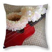 My Little Red Ukulele Throw Pillow