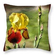 My Painted Iris Throw Pillow