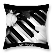 My Piano Bw Fine Art Photography Print Throw Pillow