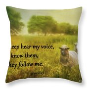 My Sheep Hear My Voice Throw Pillow