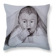 A Little Dude In The Blanket  Throw Pillow