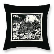 My Wyoming Cabin In Winter Throw Pillow