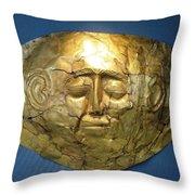 Mycenaean Gold Mask Throw Pillow