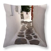 Mykonos Alley Throw Pillow