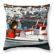 Mykonos Greece Fishing Boats Throw Pillow