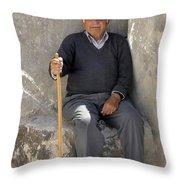 Mykonos Man With Walking Stick Throw Pillow