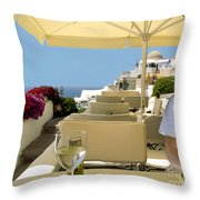 Mykonos Restaurant Throw Pillow