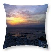 Mykonos Sunset Greece Throw Pillow