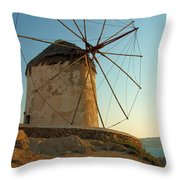 Mykonos Windmill  Throw Pillow