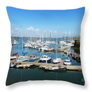 Mylor Marina Cornwall Throw Pillow
