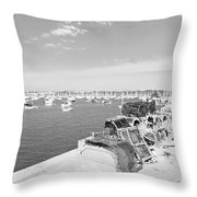 Mylor Quay In Cornwall Monochrome Throw Pillow