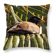 Myna In The Palms Throw Pillow