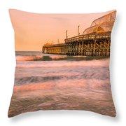 Myrtle Beach Apache Pier At Sunset Panorama Throw Pillow
