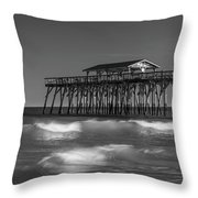Myrtle Beach Pier Panorama In Black And White Throw Pillow