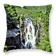 Myrtle Falls And Mount Rainier Throw Pillow