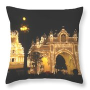 Mysore Palace Main Gate Temple Gloriously Lit At Night Throw Pillow