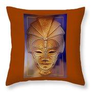Mysterious Ancient  Asian Mask Throw Pillow