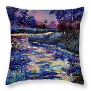 Mysterious Blue Pond Throw Pillow