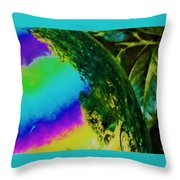 Mysterious Planet Beside Leaves Throw Pillow