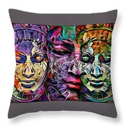 Mystic City Faces - Version B  Throw Pillow