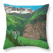 Mystic Falls On Lake Fork San Miguel River Throw Pillow