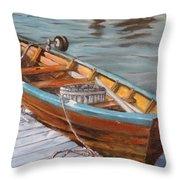 Mystic Fishing Boat Throw Pillow