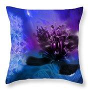 Mystic Poppy Blue Purple  Throw Pillow